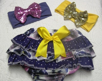 CLEARANCE, Gorgeous XL ruffled diaper cover in pansies with choice of color of matching headband wit sequin bow