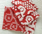 """Vintage red and white bedspread cut squares 6"""" each set of 10"""