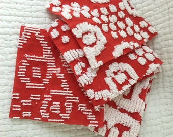 "Vintage red and white bedspread cut squares 6"" each set of 10"