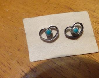 Turquoise Sterling Heart Stud Earrings Petite Vintage Adorable