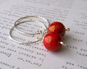 Medium Silver hoop earrings Red earrings Medium Hoop Earrings Handmade earrings Womens Fashion Jewelry