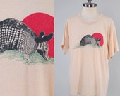 Vintage 70s tan ARMADILLO t shirt / Vintage Texas t shirt / XL soft and thin tee