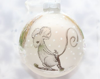 Pen and Ink Art Ice Skating Mouse Frosted Glass Ornament with Snow and Glitter