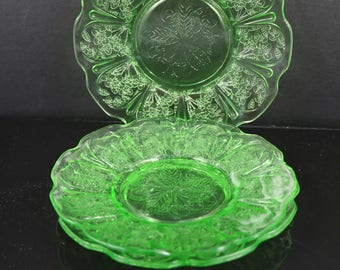 Three, Jeanette, Cherry Blossom, Green, 6 Inch Plates