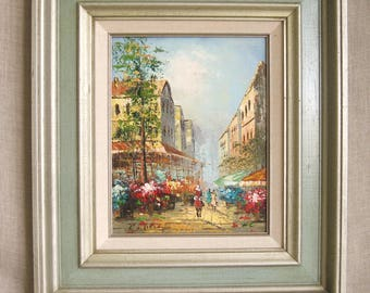 Vintage Urban Landscape Painting, Cityscape, Architecture, European, Framed, Original Fine Art, Oil, Architectural, 8 x 10, City View