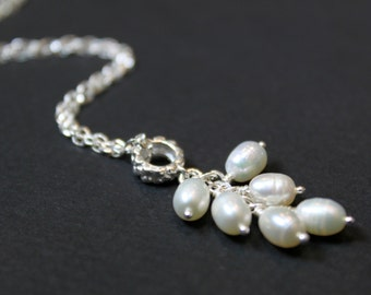 Pearl Cluster Pendant Necklace, Sterling Silver Chain , Bridesmaid Gift, Wedding Gift
