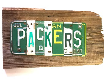 OOAK Greenbay Packers NFL football sports upcycled license plate art sign green yellow tomboyART tomboy art cheesehead
