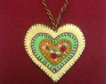 Embroidered floral wool felt heart ornament yellow, bright green and gold with dark brown backing