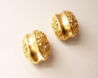 Vintage Clara Studio  Satin Gold Nugget Earrings