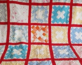 Vintage Multicolored Handmade Lap Quilt