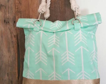 Mint Arrow Diaper Bag - Leather and Canvas Purse - Gold Leather Bag - Leather Diaper Bag - Gift for Her - Maine Gift - Baby Shower gift