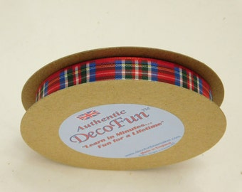 Royal Stewart Plaid Ribbon 5/8 inch Woven Edge genuine Scottish Tartan, 24 ft, Made in England, Christmas, favors, wedding, crafts, giftwrap