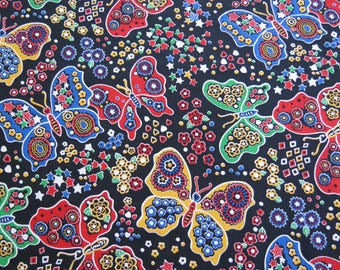 1950s 1960s Vintage Fabric - Primary Color Butterflies Novelty Cotton Fabric - 3/4 yard x 42""