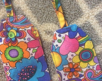 Flower power luggage tag, travel, gift, sixties, hippie