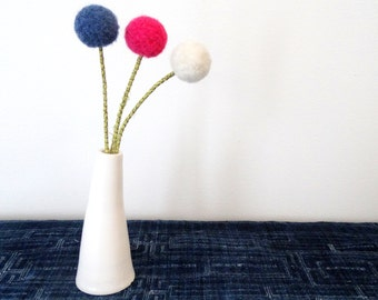 Pom pom Flowers - Indigo, Hot Pink, White Bouquet - Round Faux Flowers - Felt Balls - Fake Craspedia, Billy Buttons - Denim Flowers - Alpaca