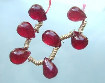 8 pcs, 7x5 mm, Beautiful Ruby Smooth Teardrop Briolette - R1