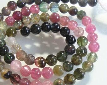 "4-5mm, 1/2 Strand, 6.5"" Inch, Natural Tourmaline Round Smooth Beads, m10"