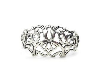 Carolyn Pollack Sterling Silver Scrolled Cuff Bracelet - Open Work Metal, Sterling Cuff, Sterling Bracelet, Vintage Bracelet