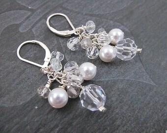 White Wedding Earrings, Swarovski Pearl Dangle Earrings, Clear Crystal and Pearl Jewelry, Women's Bridal Earrings, Pearl Cluster Earrings