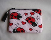 COIN PURSE / LADYBUG Tiny Purse / Pink and Red Quilted Pouch / Tiny Ladybug Purse / Zippered Bag / Purse Organizer / Adult or Kids