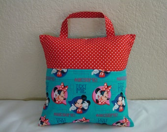 "Travel PILLOWCASE 12"" Square /Child Toddler Pocket Pillowcase/Blue-Red MICKEY & MINNIE/Pillowcase for Kids"