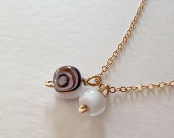 Lampworked Glass Bead Necklace on 18k Gold Vermeil