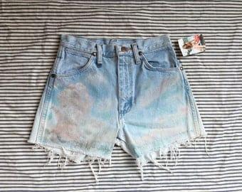 Denim Cut Offs / High Waisted Light Wash Denim Hot Pants / Cloud Printed Painted Shorts / Wrangler Jeans Shorts / Denim Short Shorts