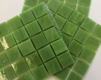 "MG190100  3/4"" Lime Green Stained Glass Mosaic Tiles-25 pc//Discount Mosaic Supplies//Mosaic//Lime Green Tile"