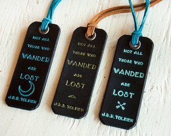 Not All Those Who Wander are Lost - J.R.R. Tolkien quote - Leather Luggage Tag- Black Leather Luggage Tag Version - Moon, Mountains, Arrows
