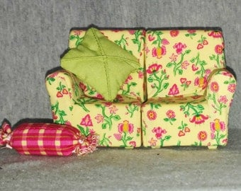 REDUCED Vintage Doll House Furniture, Two Piece Sofa with Two Pillows, Fabric, 1970s
