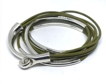 Leather Bracelet, Wrap Bracelet, Tube Bangle, Triple Wrap Bracelet, Tube beads, leather jewelry, stackable bracelet, leather tube