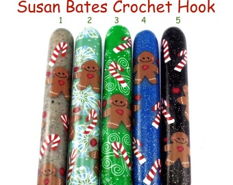 Susan Bates Polymer Clay Covered Crochet Hook, Gingerbread Man, Christmas