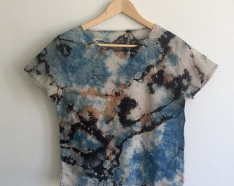 Indigo Dyed Black Blue and Tan Cotton Tee - XS/S