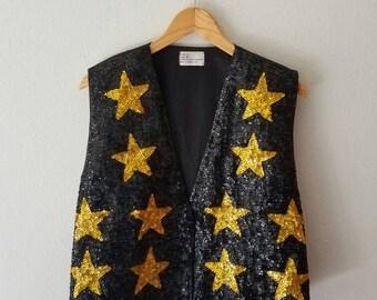 Vintage GOLD Star Sequin Black Vest (l-xl)