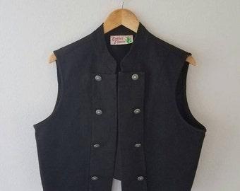 30% off// Vintage SOUTHWEST Black Boho Denim Vest (m)