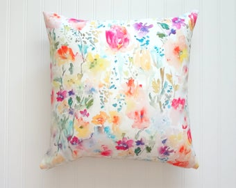 Wild Garden Watercolor Floral Pillow Covers, Designer Fabric, 18x18, 20x20 or Lumbar