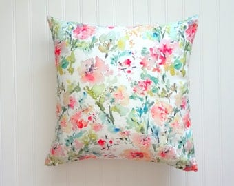 Abstract Floral Watercolor Floral Pillow Cover, Designer Fabric, 18x18, 20x20 or Lumbar