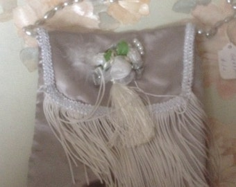 Victorian gray purse with handle with fringe and flowers