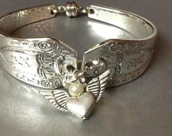A Silver Bracelet, Engraved Bracelet,Spoon Bracelet, FREE USA SHIPPING, Womens Bracelet, Charm Bracelet, Bracelet, Wrist Wear, Jewelery