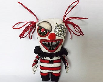 Scary Clown Circus Doll Creepy Horror Soft Sculpture Art Doll
