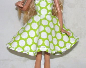 Handmade Green and White Polka Dotted Barbie Dress!