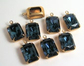 8 - 14x10 Swarovski Montana Blue Octagons in Brass Prong 1 Ring Settings
