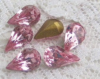 10x6 Swarovski Pear Rhinestone Light Rose Pink Glass