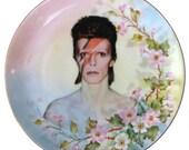 "David Bowie Portrait Plate - Altered Vintage Plate 7.75"""