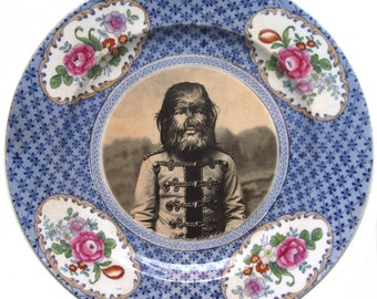 JoJo The Dog Faced Boy - Altered Antique Plate 8""
