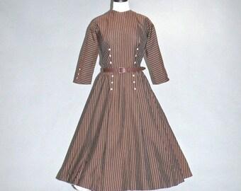 SALE 50s Dress, 1950s Day Dress, 50s Striped Swing Dress by Dan Keller, Medium