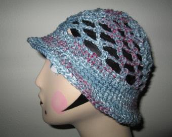 Dusty Blue Acrylic Sun Hat Crocheted by SuzannesStitches, Blue Sun Hat, Acrylic Sun Hat, Womens Sun Hat, Girls Sun Bonnet, Handmade Sun Hat
