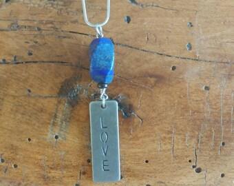 Love chain necklaces/ lapis love chain/ inspirational necklace/ love chain /blue necklace