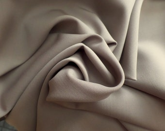 "Gabardine Suiting Fabric - 100% Worsted Wool - Taupe - 60"" Wide"