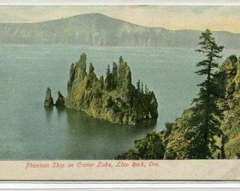 Phantom Ship Island Llao Rock Crater Lake Oregon 1909 postcard